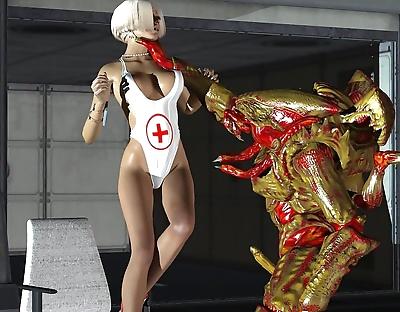 角质 金发女郎 3d nurse..