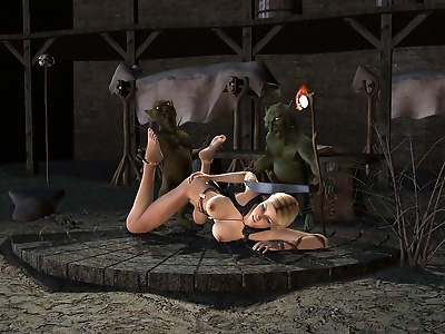 Two goblins with huge cocks driving pretty 3d teen in mad fuck action - part 789